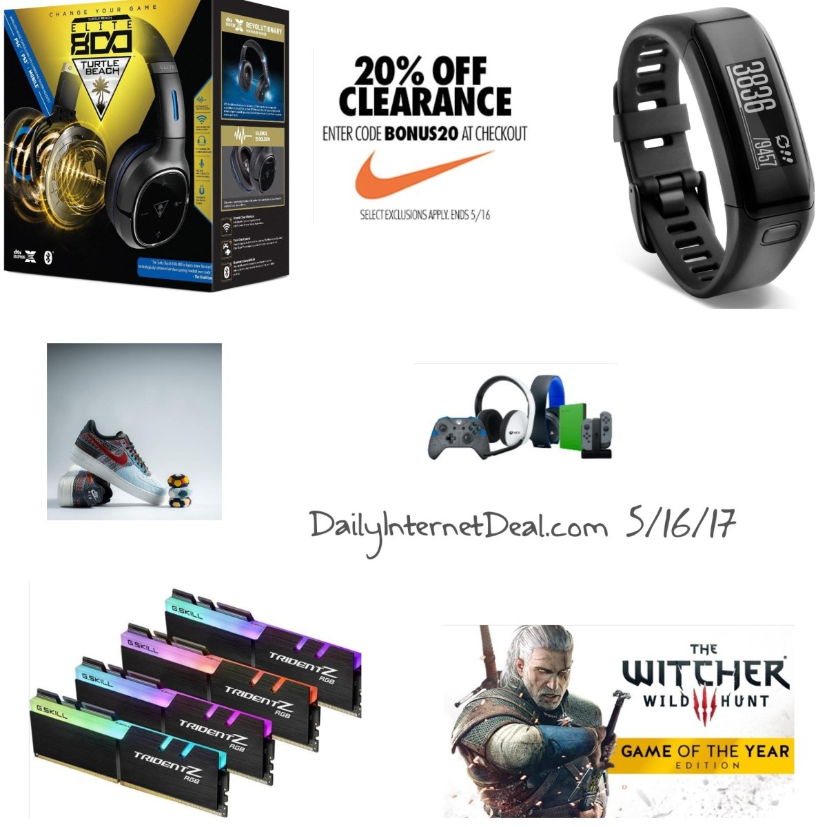 Last Day for Nike clearance sale, Garmin fit tracker for $60, Save 20% at EastBay and Hot topic XBOX live 12 month for $46 Daily Internet Deals5/16/17