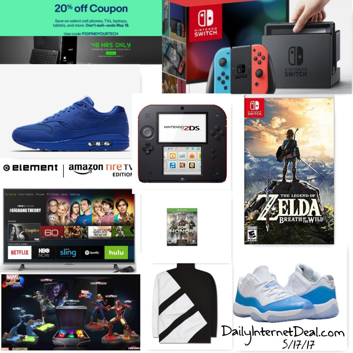 20% off eBay Tech, Nintendo switch bundles, Sale on Zelda, Nintendo 3ds, For Honor, Restocks and New Sneaker releases andmore