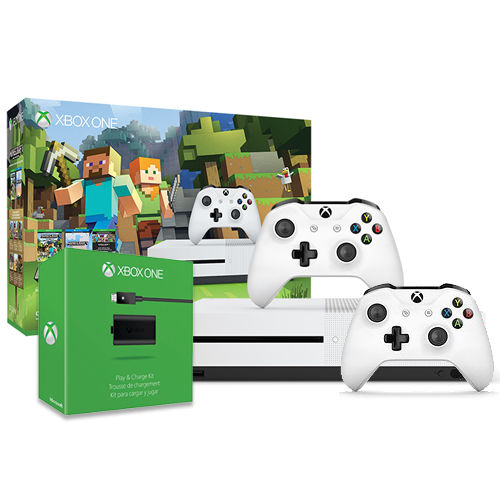 Xbox One S Minecraft 500GB Bundle + Xbox Wireless Controller + Play & Charge Kit for $229